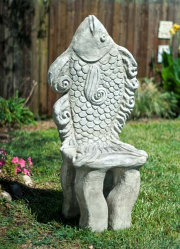 Artisan Sculpted Precast Concrete Fish Theme Chair
