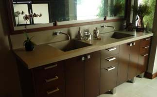 Beige Bathroom Concrete Countertop