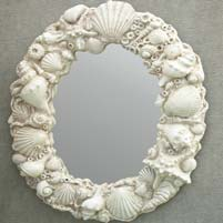 Concrete Artist Cast White Shell Mirror