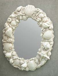Concrete Cast White Shell Mirror