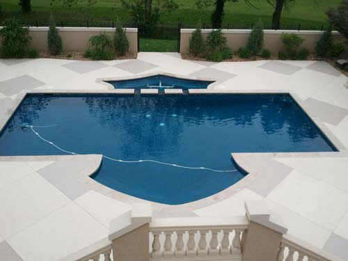Painted Beige Concrete Pool Deck