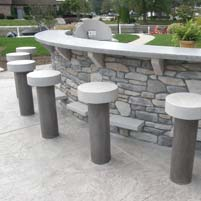 Concrete Bar Top and Stools Made to Weather All Seasons – Syracuse, IN