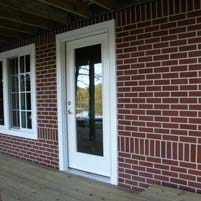 Faux Red Brick Wall Vertical Concrete Pattern Overlay