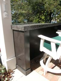 Outdoor Black Terrazzo Bar Top Mother of Pearl flecks