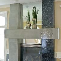 Custom Terrazzo Fireplace Gray and Black Glass Filled