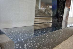 Terrazzo Gray and Black Glass Filled Fire Place