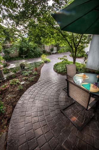Gray Stamped Concrete Outdoor Patio