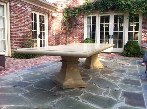 Outdoor Beige GFRC Bench Table