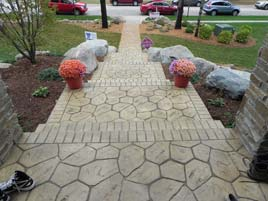 White Natural Stone Stamped Concrete Patio