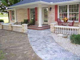 White and Gray Stamped Stone Floor and GFRC Balusters