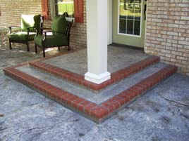 Red Brick Stamped Border Front Home Patio