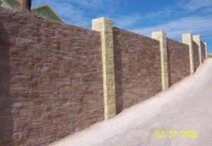 Rock Brown red and yellow faux carved stone wall in exterior residential using Wall Stamp