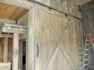 Gray beige faux wood plank door in interior commercial using Wall Stamp