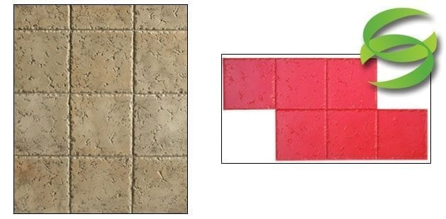 12in Tumbled Travertine-Square Tile Stamp Mat for Concrete