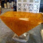 High Gloss Bent Brown - Orange Concrete Coffee Table