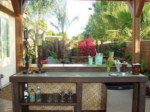 Concrete Countertop BAR Looking out at Yard