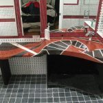 Custom Black and Red Bathroom Countertop with Curved Edge Face