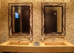 Large Bathroom Concrete Double Sink with Rock Back Splash