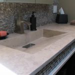 Large Tan Concrete Sink with integrated sink