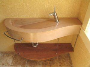 Modern Tan Concrete Bathroom Sink