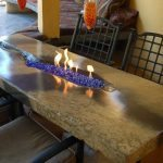 Custom Tan and Brown Concrete Fire Table