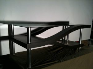 Multi tier Concrete Table Black and Gray Bent