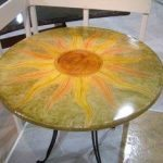 Round Concrete Table Multi Color Stain to Make a Sun