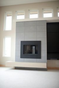 Large With Concrete Fireplace in Living Room