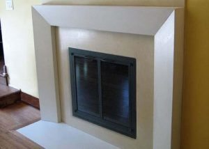 Clean Light Gray Thin Concrete Fireplace Surround