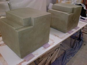 Large Commercial Bench Bases Made From Concrete GFRC Mix