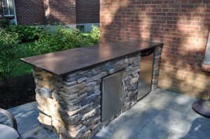 Outdoor Kitchen Concrete bench and countertop