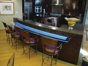 Dark Gray Concrete Bar top with LED Glass Overhang