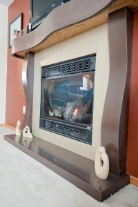 Very Cool Multi Brown Stained Concrete Indoor Fireplace