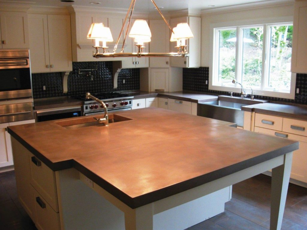 Concrete countertop wall panels and furniture designs for Concrete kitchen countertop ideas