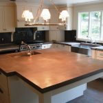 Very Larg Cast Concrete Countertop Island Stained with Brown Stain and Sealed with Gloss Sealer
