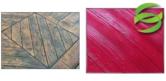 Parquet wood diagonal 6in Stamping Concrete Mats