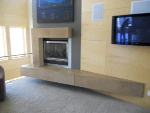 Long Brown Fireplace Mantel made of Concrete