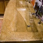 Duel Sink Bathroom Countertop Tan and Brown High Gloss