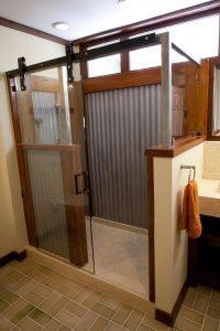 Wood and Metal Shower Walls made from concrete