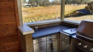 brown and gray stained concrete countertop