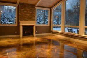 brown stained indoor concrete floor