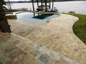brown stained pool deck