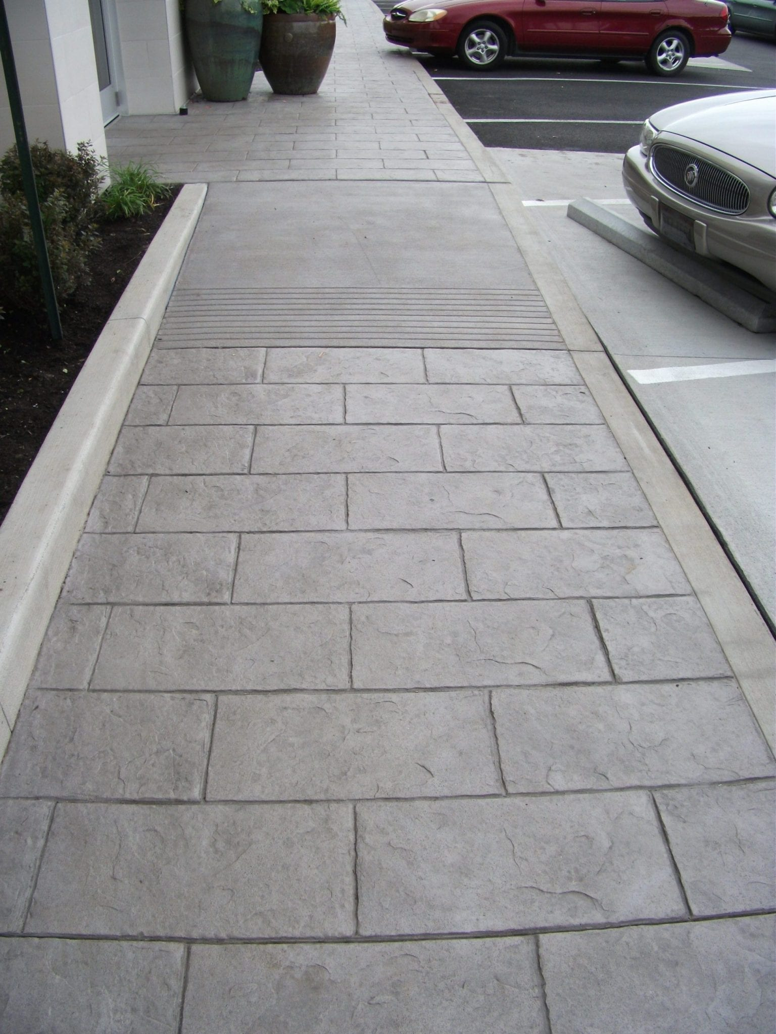 commercial brown - gray stained walkway
