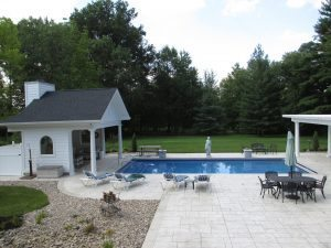 gray stained pool deck