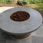 Round Gray Concrete Fire Pit Topper