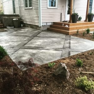 light and dark gray stained patio