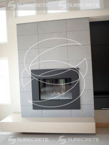 White Concrete Fireplace 1