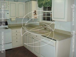 White Kitchen Concrete Countertop