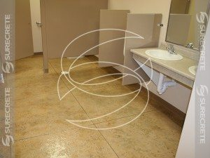 Commercial Bathroom Stained Brown Floor Coating