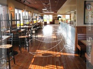 Restaurant Stamped Concrete Floor That look Like Wood